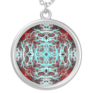 Dramatic Round Pattern. Red and Turquoise. Silver Plated Necklace