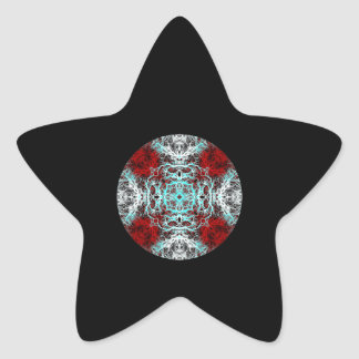 Dramatic Round Pattern. Red and Turquoise. Star Sticker