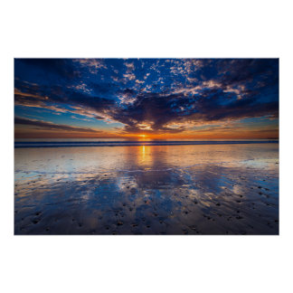 Dramatic seascape, sunset, CA Poster