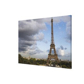dramatic sky behind Eiffel Tower Canvas Print