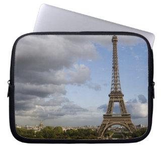 dramatic sky behind Eiffel Tower Laptop Computer Sleeves