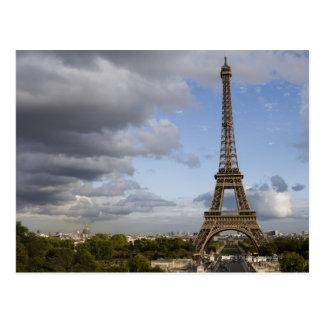 dramatic sky behind Eiffel Tower Postcard
