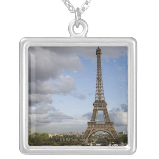 dramatic sky behind Eiffel Tower Square Pendant Necklace
