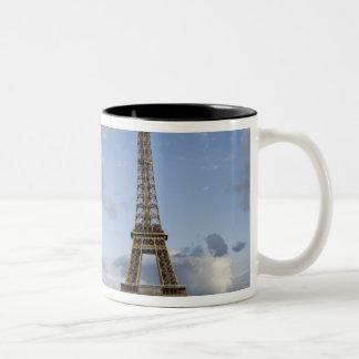 dramatic sky behind Eiffel Tower Two-Tone Coffee Mug