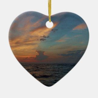 Dramatic Sky Double-Sided Heart Ceramic Christmas Ornament
