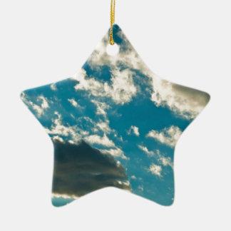 Dramatic sky Double-Sided star ceramic christmas ornament