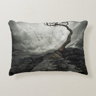 Dramatic sky over old lonely tree decorative pillow