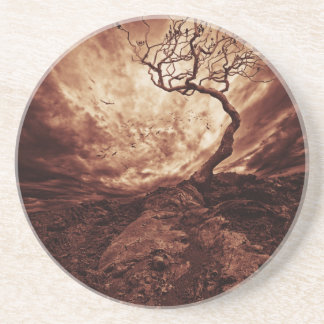 Dramatic Sky Over Old Lonely Tree Drink Coaster