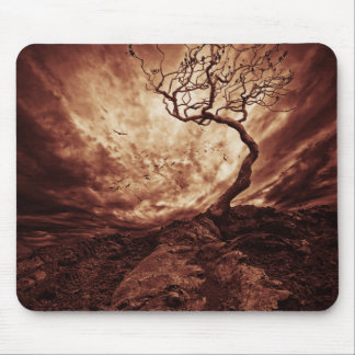 Dramatic Sky Over Old Lonely Tree Mouse Pad