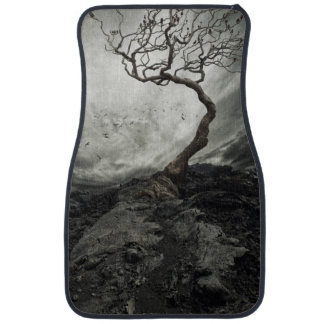 Dramatic sky over old lonely tree car mat