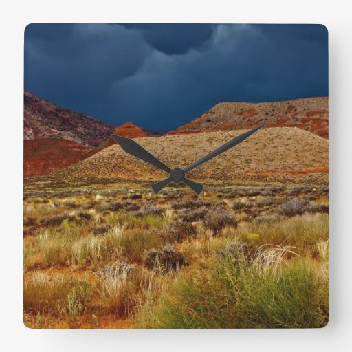 DRAMATIC STORM CLOUDS OVER HIGH DESERT SQUARE WALLCLOCKS