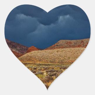 DRAMATIC STORM CLOUDS OVER HIGH DESERT HEART STICKER