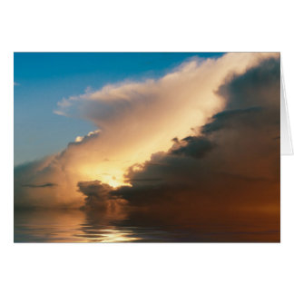 Dramatic sunset above the ocean greeting card
