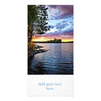 Dramatic sunset at lake photo cards