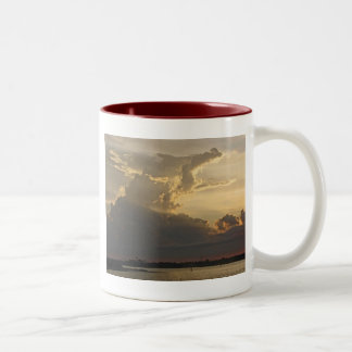 Dramatic Sunset, Clouds, Sky and Water Two-Tone Coffee Mug
