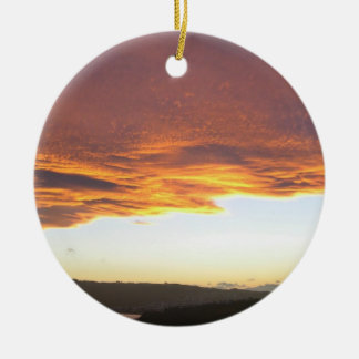 Dramatic Sunset over lake Ornaments