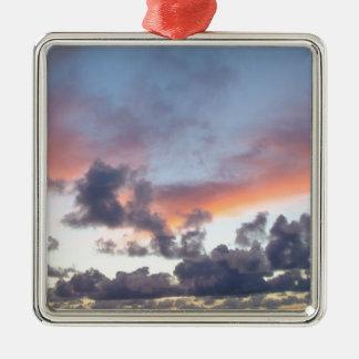 Dramatic sunset sky square metal christmas ornament