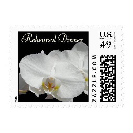 Dramatic White Orchid  custom invitation Postage