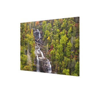 Dramatic Whitewater Falls in autumn in the Canvas Print
