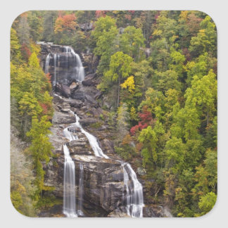 Dramatic Whitewater Falls in autumn in the Square Sticker