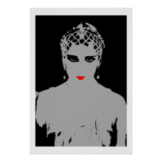Dramatic Woman With Red Lips Poster