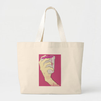 drank hand cup pink large tote bag
