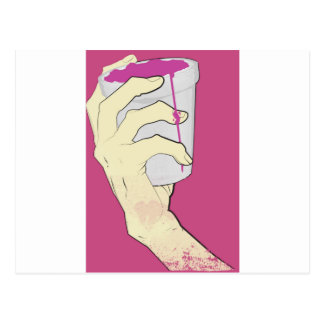drank hand cup pink postcard