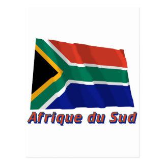 Drapeau Afrique du Sud avec le nom en français Postcard