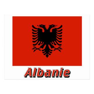Drapeau Albanie avec le nom en français Postcard