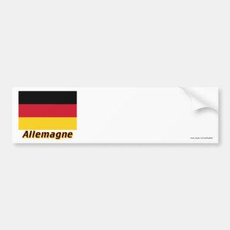 Drapeau Allemagne avec le nom en français Bumper Sticker