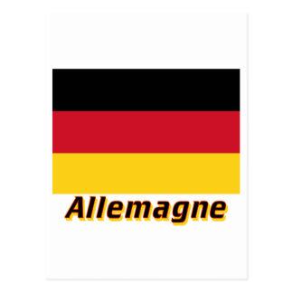 Drapeau Allemagne avec le nom en français Postcard