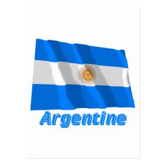 Drapeau Argentine avec le nom en français Post Cards