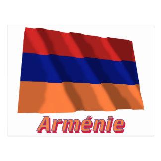 Drapeau Arménie avec le nom en français Post Card