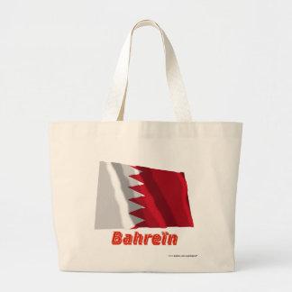 Drapeau Bahreïn avec le nom en français Large Tote Bag