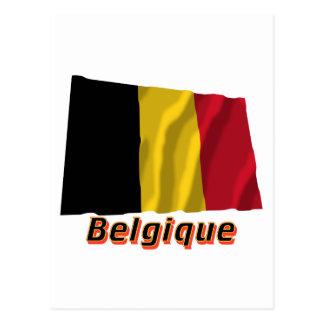 Drapeau Belgique avec le nom en français Post Cards