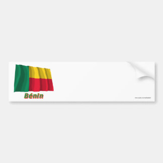 Drapeau Bénin avec le nom en français Bumper Sticker