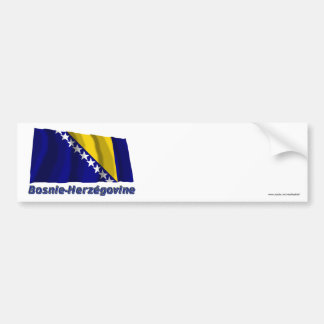Drapeau Bosnie-Herzégovine avec le nom en français Bumper Sticker