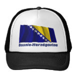Drapeau Bosnie-Herzégovine avec le nom en français Hats