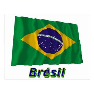 Drapeau Brésil avec le nom en français Postcard