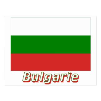 Drapeau Bulgarie avec le nom en français Post Cards