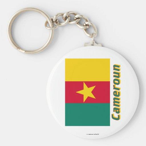 Drapeau Cameroun avec le nom en français Basic Round Button Keychain