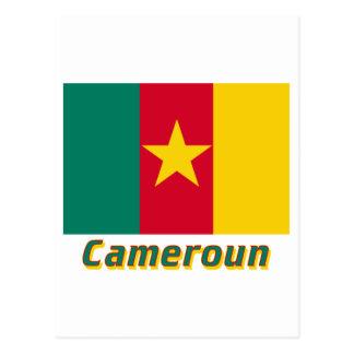 Drapeau Cameroun avec le nom en français Postcard