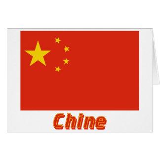 Drapeau Chine avec le nom en français Greeting Cards