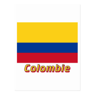Drapeau Colombie avec le nom en français Post Card