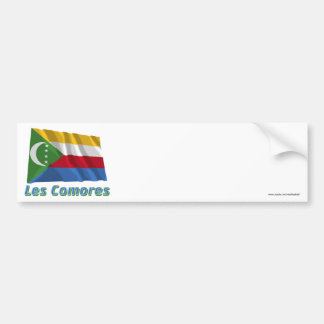 Drapeau Comores avec le nom en français Bumper Sticker