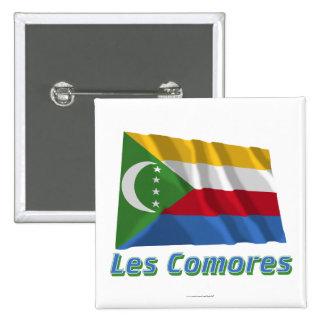 Drapeau Comores avec le nom en français Pins