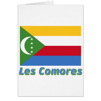 Drapeau Comores avec le nom en français Greeting Card