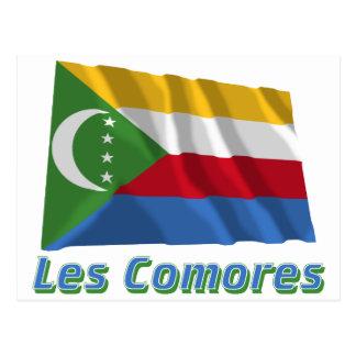 Drapeau Comores avec le nom en français Post Card