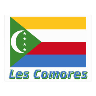 Drapeau Comores avec le nom en français Postcard
