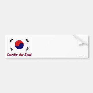 Drapeau Corée du Sud avec le nom en français Bumper Sticker